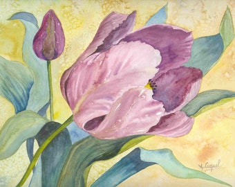 The purple Tulip - original watercolor painting