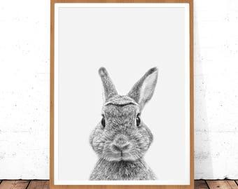 Rabbit Print, Woodland Nursery Wall Art, Rabbit Wall Decor, Animals Nursery, Digital Download, Bunny Wall Print, Nursery, Black White Animal