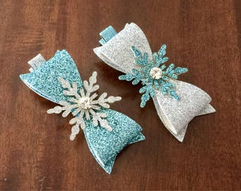 baby hair clip glitter snowflakes hair clips frozen hair accessories girls hair bows baby barrettes glitter bows frozen hair clip Elsa bows