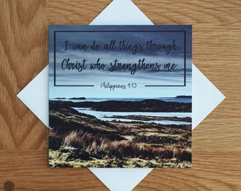 Bible Verse - Quote - Photography Greetings Card - 148 x 148 - Philippians 4 - Blank Inside - Any occasion