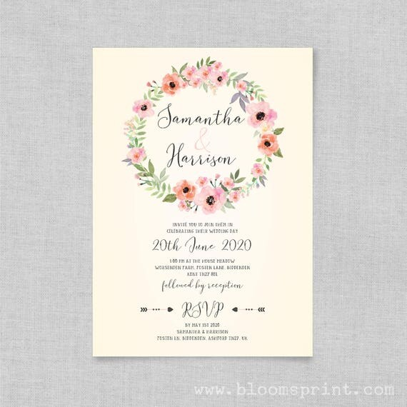 Bohemian floral wedding invitations, Boho rustic wedding invitations, Elegant floral wedding invitation, Wedding invites uk, A5