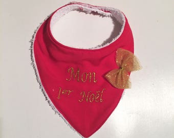 Red and gold embroidered my 1st Christmas / baby / baby / Christmas / christmas / French