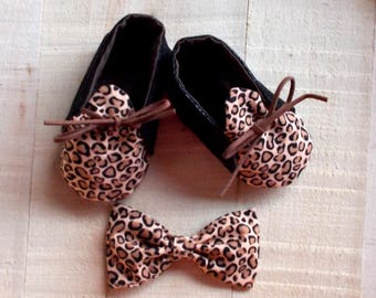 Leopard Print Faux Leather Booties and Clip On Infant Bow Tie Set