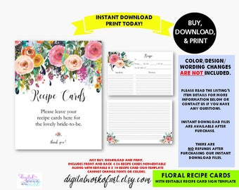 Floral Recipe Cards and Sign Printable, Editable Recipe Card Sign, Flower Bridal Baby Shower, Cooking Card, Kitchen, PDF Instant Download,RC