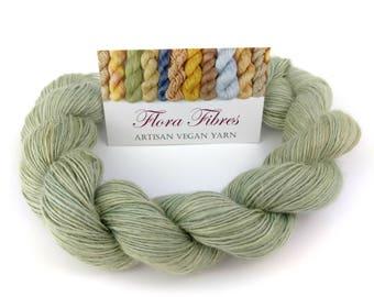 "Hand spun naturally dyed vegan soybean soysilk light fingering weight yarn ""Dried sage"" for knitting crochet weaving UK"
