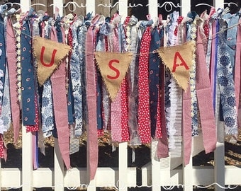 Rustic, Patriotic, Fourth of July, Independence Day, Memorial Day, Labor Day, USA, Red, White and Blue Shabby Chic Garland Banner
