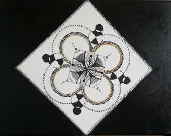 ACRYLIC black and white geometric