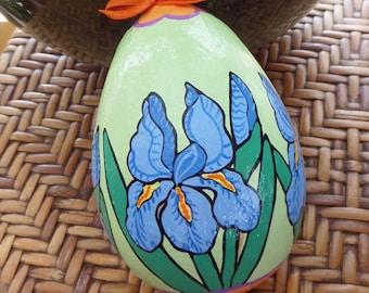 Easter Egg, Large, hand painted decorative Iris egg
