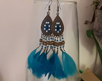 Earrings Bohemian chic turquoise feather
