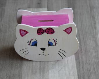 piggy bank shaped pink and white cat