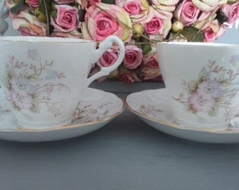 Pair of Royal Stuart Gold Gilded 1960's Vintage Floral Fine Bone China Teacups-Teaset