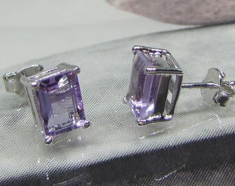 Silver 925/1000 and amethysts square earrings