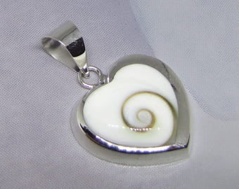 Eye of Shiva (heart) and Sterling Silver Pendant