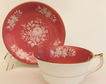 Gorgeous Vintage Aynsley Tea cup and Saucer, Pink, White