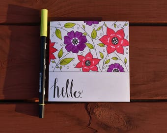 Floral 'Hello' Card