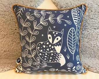 Daniel Fox Cushion Cover in midnight blue with ochre piping, scandi lifestyle interior decor