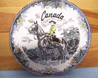 Vintage Canadian Mounted Police Souvenir Plate
