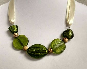 Green Glass Ribbon Necklace