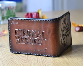 World of warcraft logo and guild name chocolate brown leather wallet for a WOW fan. Hand tooled gamer wallet with love message engraved
