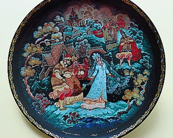 Set of 2 Vinogradoff Porcelain Russian Legends Collector Plates  with 18 karat gold