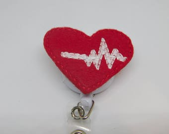 EKG/Nurse/Badge Reel/ID Badge Holder/Retractable Badge/Felt Covered Button