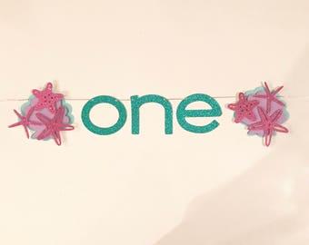 Mermaid/ Under the Sea/Beach/ Summer Theme Age Birthday Banner with Starfish Glamorous