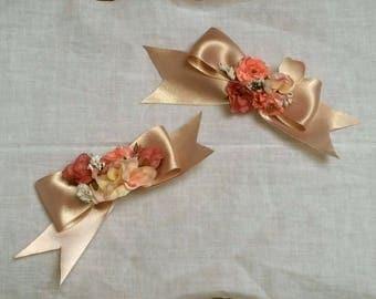 Lolita Pink Flower Hair Bow Pins