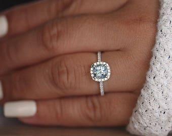 White Gold 6mm Cushion Aquamarine Engagement Ring, Wedding Ring, 14k, White Gold Ring, Bridal Ring, Diamond Halo Natural Aquamarine Ring