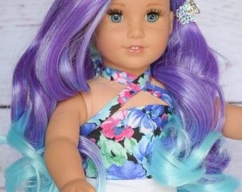 "Custom Doll Wig for 18"" American Girl Dolls, Gotz, Journey Girls - Heat Safe - Tangle Resistant - Cap size 10-11"" Rainbow"