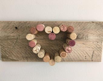 Rustic, Love Wine Cork Heart and Reclaimed Wood Wall Hanging