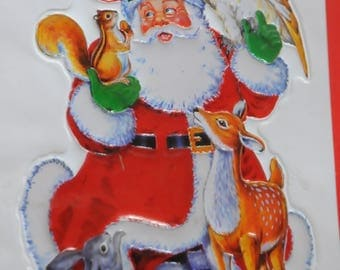 "Christmas ornament: ""Santa and animals"" 3D Sticker"