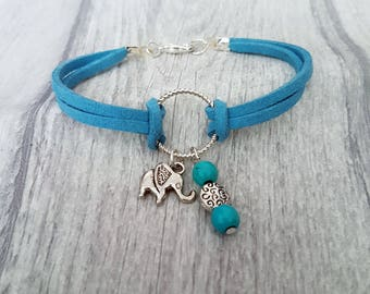 Elephant charm Bracelet, Turquoise Charm Bracelet, Elephant Bracelet, animal Charm bracelet, elephant jewelry for women, leather  bracelet