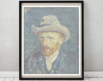Van Gogh Self Portrait in squares