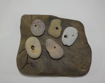 5 Naturally Holed Beach Stones - Hag Stones - Pebbles with natural hole  - Decorative Beach Finds - Odin Stone Talismans #223