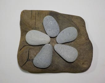 "5 Flat Beach Stones 1.4-1.7""/3.5-4.5cm Bulk Flat Beach stones - Guest book - Flat Sea Stones - Decorative Beach Finds #161"