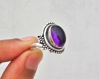 Amethyst ring, 925 solid sterling silver ring, silver ring,gemstone ring,sterling silver ring, ,women's ring,handmade ring