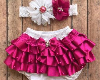 Fuschia vintage newborn bloomer - baby bloomer - newborn ruffles bloomer - vintage newborn headband - fall baby bloomer - baby shower gift s