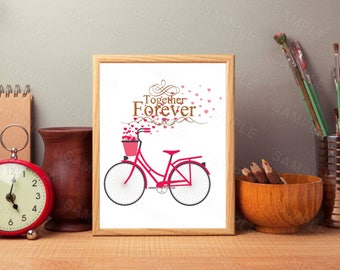 Together Forever, Bike Wall Art, valentine's Day Print,Gold Glitter,Hearts, Printable Wall Print, Instant Download, Digital Art Print