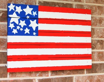 Large Wooden American Flag made from reclaimed wood. Rustic Decor. American Pride. USA. United States Flag. US Flag. Home Decor.