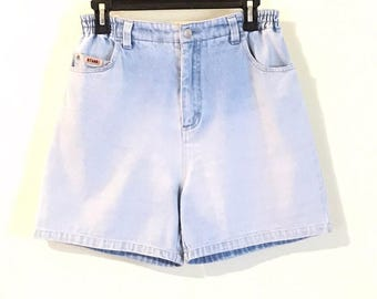 "GITANO High Waist Vintage Elastic Waist Women's Light Wash Mom Shorts 28"" Waist"