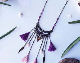 Ethnic jewelry, talisman necklace, tassels and shells, long ethnic necklace
