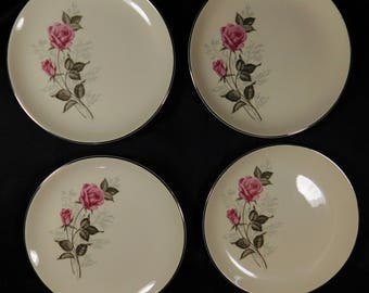 "1950s 7"" Set of 4 Off White Dessert Plates TST78 Taylor Smith Taylor VERSATILE Two Pink Roses Platinum Edge Blue Baby's Breath Flowers Cream"
