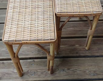 Vintage Rattan And Wicker Tables   Chevet  Stool   Bohemian   Made In  France.