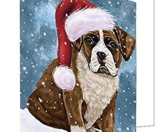 Let it Snow Christmas Holiday Boxers Dog Wearing Santa Hat Set of 10 Greeting Cards
