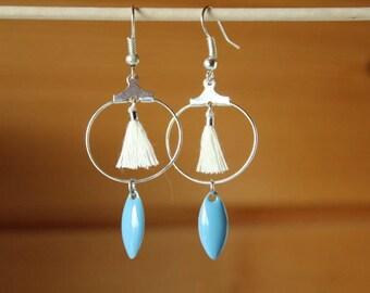 Hoop earrings white tassel and blue sequin shuttle