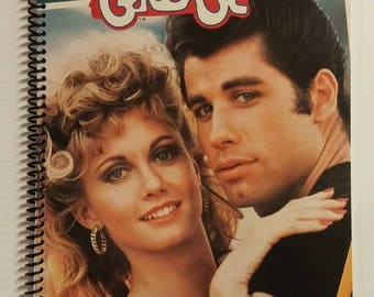 Grease Spiral Notebook Hand Made from Recycled Vinyl Record Album Cover