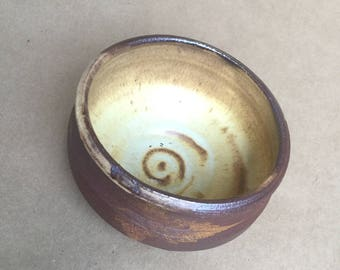 Yellow Leaf Soup Bowl - Soda-Fired Stoneware