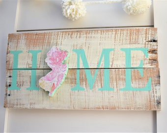 New Jersey Home Sign - Housewarming Gift - Going Away Gift - New Jersey Decor - State Sign - State Pallet Sign - Reclaimed Wood Decor - NJ