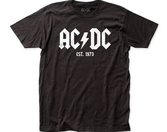 AC/DC Est. 1973 Men's Soft Fitted 30/1 Cotton Tee (ACDC31) Black