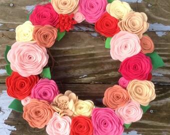 "Colorful Felt Floral Wreath   14"" Wreath"